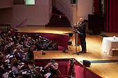 New York,New York<br /> October 25, 2009<br /> USA<br /> <br /> Dr. Timothy Keller, preaches at Hunter College Sunday service. One of the five services he performs on Sunday throughout New York City. <br /> <br /> He is the founder and pastor of New York's Redeemer Presbyterian Church in Manhattan. Over the past 20 years, the church has grown to five services at three sites, with a weekly attendance of over 5,000. Named one of the Top 25 Most Influential Churches in America, Keller's ministry is notable not only for winning over New Yorkers who are skeptical to faith, but also for its mission approach, planting more than 100 churches though the Redeemer Church Planting Center. He is the New York Times bestselling author of The Reason for God, The Prodigal God, and Counterfeit Gods.