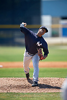 New York Yankees pitcher Daniel Ramos (38) during a Minor League Spring Training game against the Toronto Blue Jays on March 18, 2018 at Englebert Complex in Dunedin, Florida.  (Mike Janes/Four Seam Images)