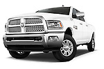 Stock pictures of low aggressive front three quarter view of a 2017 Ram 2500 Laramie Mega Cab 4 Door Truck Low Aggressive