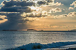 A winter sunrise over the Boston Harbor Islands from Winthrop, Massachusetts, USA