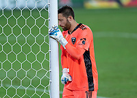 WASHINGTON, DC - SEPTEMBER 12: Chris Seitz #1 of D.C. United takes a moment before the second half during a game between New York Red Bulls and D.C. United at Audi Field on September 12, 2020 in Washington, DC.