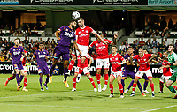 18th April 2021; HBF Park, Perth, Western Australia, Australia; A League Football, Perth Glory versus Wellington Phoenix; Tim Payne of Wellington Phoenix wins the header against Osama Malik of the Perth Glory from a Glory cross