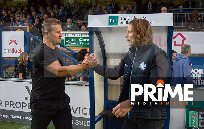 Wycombe Wanderers Manager Gareth Ainsworth welcomes Forest Green Rovers Manager Mark Cooper during the Carabao Cup 2nd round match between Wycombe Wanderers and Forest Green Rovers at Adams Park, High Wycombe, England on 28 August 2018. Photo by Kevin Prescod.