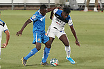 Getafe CF's Djene Dakoman (l) and Atalanta BC's Duvan Zapata during friendly match. August 10,2019. (ALTERPHOTOS/Acero)