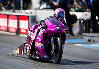 Mar 13, 2021; Gainesville, Florida, USA; NHRA pro stock motorcycle rider Angie Smith during qualifying for the Gatornationals at Gainesville Raceway. Mandatory Credit: Mark J. Rebilas-USA TODAY Sports