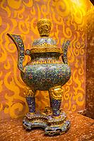 Nanjing, Jiangsu, China.  Decorative Pot in Usnisa Hall, Usnisa Palace, Niushou Mountain.