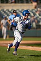 Hartford Yard Goats Michael Toglia (55) rounds the bases after hitting a home run during a game against the Somerset Patriots on September 11, 2021 at TD Bank Ballpark in Bridgewater, New Jersey.  (Mike Janes/Four Seam Images)