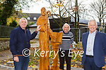 Unvailing the new Monk of Inisfallen sculpture in Killarney on Tuesday were Noel O'Leary Kerry County Council, Cllr Michael Glesson and Killarney Mayor Brendan Cronin