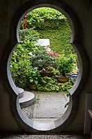 Yangzhou, Jiangsu, China.  Entrance to a Traditional Chinese Family Garden.
