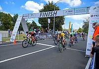 Jensen Plowright (left) beats yellow jersey wearer Aaron Gate. Stage Three - Te ara roa (Te Awamutu circuit). 2019 Grassroots Trust NZ Cycle Classic UCI 2.2 Tour from Te Awamutu in Cambridge, New Zealand on Friday, 25 January 2019. Photo: Dave Lintott / lintottphoto.co.nz
