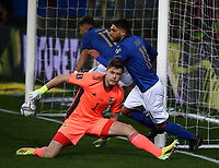 Footbal Soccer: FIFA World Cup Qatar 2022 Qualification, Italy - Northern Ireland, Ennio Tardini stadium, Parma, March 26, 2021.<br /> Italy's Domenico Berardi (R) celebrates after scoring during the FIFA World Cup Qatar 2022 qualification, football match between Italy and Northern Ireland, at Ennio Tardini stadium in Parma on March 26, 2021.<br /> UPDATE IMAGES PRESS/Isabella Bonotto