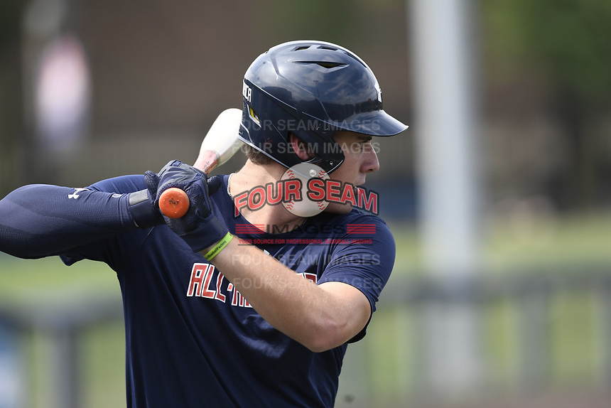 TEMPORARY UNEDITED FILE:  Image may appear lighter/darker than final edit - all images cropped to best fit print size.  <br /> <br /> Under Armour All-American Game presented by Baseball Factory on July 19, 2018 at Les Miller Field at Curtis Granderson Stadium in Chicago, Illinois.  (Mike Janes/Four Seam Images) Matthew Allan is a pitcher from Seminole High School in Sanford, Florida committed to Florida.
