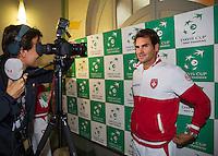 Switserland, Genève, September 17, 2015, Tennis,   Davis Cup, Switserland-Netherlands, Draw, interview with Roger Federer<br /> Photo: Tennisimages/Henk Koster