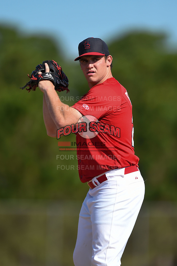 St. Louis Cardinals pitcher Silas Bohannan (28) during practice before a minor league spring training game against the New York Mets on April 1, 2015 at the Roger Dean Complex in Jupiter, Florida.  (Mike Janes/Four Seam Images)
