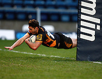 Photo: Richard Lane/Richard Lane Photography. London Wasps v Rugby Mogliano. Amlin Challenge Cup. 12/01/2013. Wasps' Charlie Davies  scores a try.