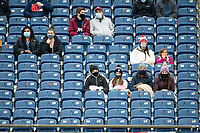 FOXBOROUGH, MA - APRIL 17: Fans sitting apart due to covid restrictions during a game between Richmond Kickers and Revolution II at Gillette Stadium on April 17, 2021 in Foxborough, Massachusetts.