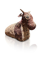 Ancient Egyptian pseudo mummy of a bull, painted linen, Late Period (722-332 BC. Egyptian Museum, Turin. white background<br /> <br /> The pseudo mummy contains only part of a bulls remains the missing parts being replaced with vegetable matter