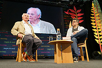 Pictured: Novelist Philip Pullman (L) speaks to Daniel Hahn.<br /> Re: Hay Festival at Hay on Wye, Powys, Wales, UK. Saturday 02 June 2018