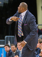 WASHINGTON, DC - JANUARY 28: Patrick Ewing head coach of Georgetown calls in a play during a game between Butler and Georgetown at Capital One Arena on January 28, 2020 in Washington, DC.