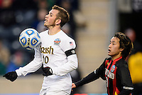 Notre Dame Fighting Irish forward Harrison Shipp (10) is marked by Maryland Terrapins midfielder Tsubasa Endoh (31). The Notre Dame Fighting Irish defeated the Maryland Terrapins 2-1 during the championship match of the division 1 2013 NCAA  Men's Soccer College Cup at PPL Park in Chester, PA, on December 15, 2013.