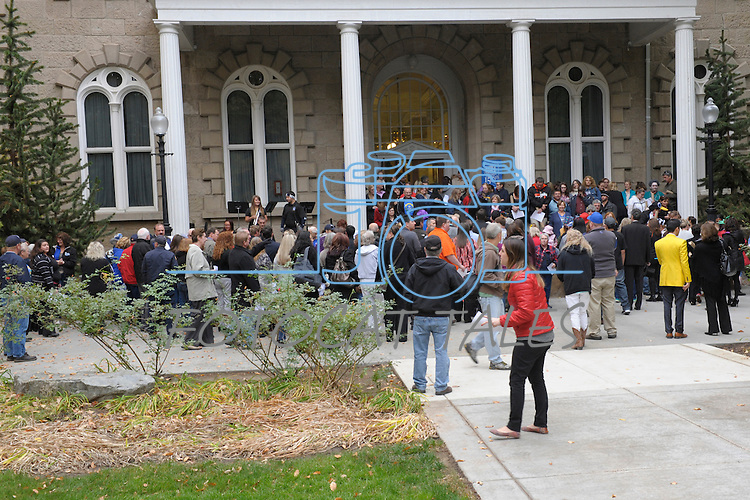 """People gather at the Capitol Thursday, Oct. 30, 2014 for #NevadaSings!, a statewide sing-a-long of """"Home Means Nevada."""" Approximately 370 people took part  in the Carson City portion of the event, which seeks to establish a new record for the most people in an American state to sing their state song at the same time."""
