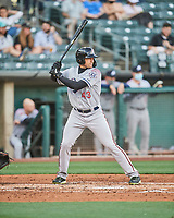 Trayce Thompson (43) of the Reno Aces at bat against the Salt Lake Bees at Smith's Ballpark on May 6, 2021 in Salt Lake City, Utah. The Aces defeated the Bees 5-4. (Stephen Smith/Four Seam Images)