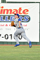 Kingsport Mets center fielder Jarred Kelenic (20) reacts to the ball during a game against the Elizabethton Twins at Joe O'Brien Field on August 7, 2018 in Elizabethton, Tennessee. The Twins defeated the Mets 16-10. (Tony Farlow/Four Seam Images)