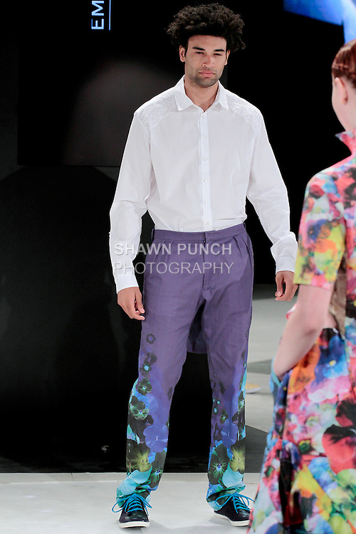 Model walks runway in an outfit by Emma Hastil, during the 2013 Pratt Institute Fashion Show, on April 25, 2013., during the 2013 Pratt Institute Fashion Show, on April 25, 2013.