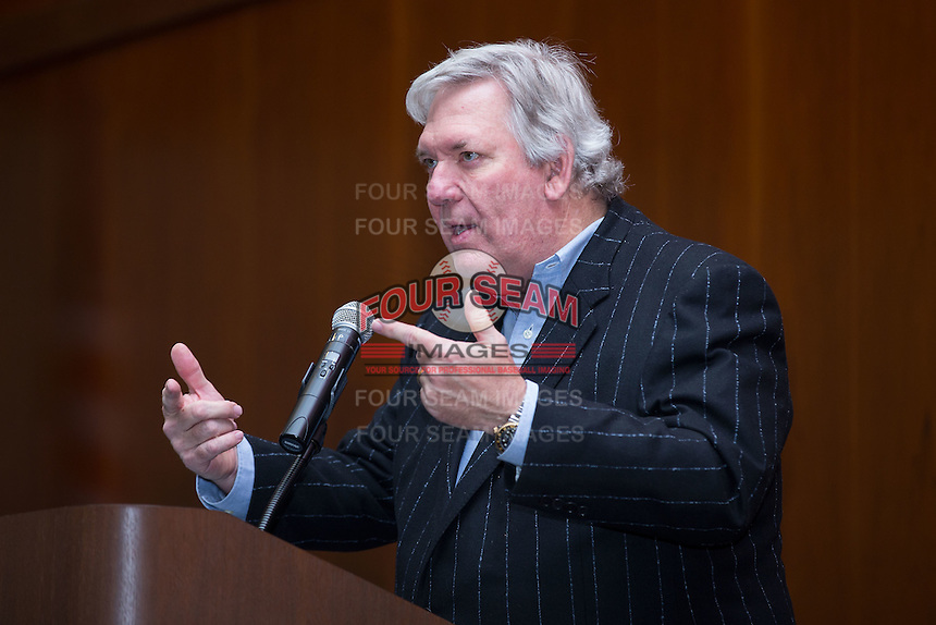 Carolina Mudcats owner Steve Bryant speaks to the crowd at the 67th Annual Baseball Banquet put on by the Raleigh Hot Stove League at the Jane S. McKimmon Conference Center on January 24, 2017 in Raleigh, North Carolina.  (Brian Westerholt/Four Seam Images)