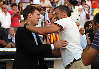 Valencia, Spain. Thursday 19 September 2013<br /> Pictured L-R: Swansea manager Michael Laudrup greeted by Valencia manager Miroslav Dukic<br /> Re: UEFA Europa League game against Valencia C.F v Swansea City FC, at the Estadio Mestalla, Spain,