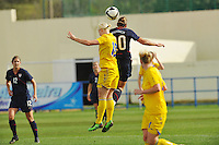 Abby Wambach wins a header agains Kristin Hammarstrom of Sweden.  The USA was victorious over Sweden 2-0 in Ferreiras on March 1, 2010 at the Algarve Cup.