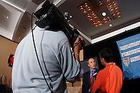 New U.S. National Team head coach Bob Bradley is interviewed by MSG network at his introduction at New York Marriott Marquis Times Square, New York, NY, on May 16, 2007.