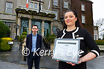 Mark Scally Finance Director and Kamile Lyne Hotel Manager celebrate the Grea Southern Hotel being named best historic Hotel in Europe on Monday