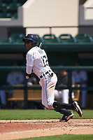 Detroit Tigers Jose King (17) bats during a Minor League Spring Training game against the Toronto Blue Jays on April 22, 2021 at Joker Marchant Stadium in Lakeland, Florida.  (Mike Janes/Four Seam Images)