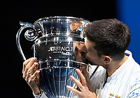 15th November 2020, O2, London, England;  Novak Djokovic of Serbia kisses his ATP, Tennis Mens World No. 1 trophy at the ATP World Tour Finals 2020 in London