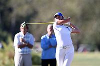 CHAPEL HILL, NC - OCTOBER 11: Megan Furtney of Duke University tees off at UNC Finley Golf Course on October 11, 2019 in Chapel Hill, North Carolina.