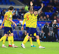 28th September 2021; Cardiff City Stadium, Cardiff, Wales;  EFL Championship football, Cardiff versus West Bromwich Albion; Alex Mowatt of West Bromwich Albion celebrates after his long range shot finds the back of the net to make it 0-3 in the 75th minute
