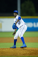 Burlington Royals relief pitcher Luis Alcantara (57) in action against the Danville Braves at Burlington Athletic Stadium on August 14, 2017 in Burlington, North Carolina.  The Royals defeated the Braves 9-8 in 10 innings.  (Brian Westerholt/Four Seam Images)