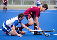 Saint Kentigern Mathew Vaughan and Kings College Karl Wallace  - during the Division A Boys Final, between Saint Kentigern College and Kings College, during Upper North Island Secondary School Hockey Championship, North Harbour Hockey, North Shore, Auckland . Friday 9 October 2020 Photo: Brett Phibbs / www.bwmedia.co.nz / Hockey New Zealand