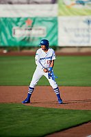 Romer Cuadrado (17) of the Ogden Raptors during the game against the Orem Owlz in Pioneer League action at Lindquist Field on June 21, 2017 in Ogden, Utah. The Owlz defeated the Raptors 16-5. This was Opening Night at home for the Raptors.  (Stephen Smith/Four Seam Images)