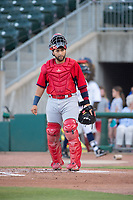 Springfield Cardinals catcher Jose Godoy (27) looks back to the dugout on May 16, 2019, at Arvest Ballpark in Springdale, Arkansas. (Jason Ivester/Four Seam Images)