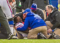 19 October 2014: Buffalo Bills running back C.J. Spiller is down in pain and attended to after an injury in the second quarter against the Minnesota Vikings at Ralph Wilson Stadium in Orchard Park, NY. The Bills defeated the Vikings 17-16 in a dramatic, last minute, comeback touchdown drive. Mandatory Credit: Ed Wolfstein Photo *** RAW (NEF) Image File Available ***