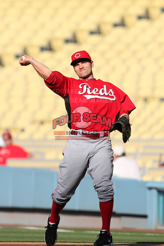 Cincinnati Reds first baseman Joey Votto #19 before a game against the Los Angeles Dodgers at Dodger Stadium on June 14, 2011 in Los Angeles,California. (Larry Goren/Four Seam Images)