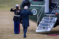 US President Joe Biden walks to board Marine One on the South Lawn of the White House in Washington, DC, USA, 16 February 2021. This evening President Biden is traveling to Minneapolis to participate in a town hall meeting where he will take questions on the pandemic and the economy.<br /> CAP/MPI/RS<br /> ©RS/MPI/Capital Pictures