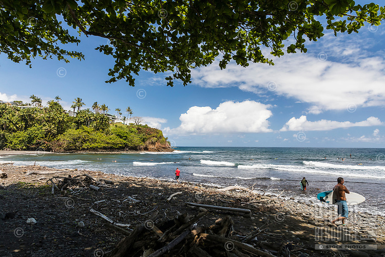 People enjoy a day at Honoli'i Beach Park and Bay, Hilo, Big Island.