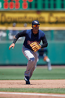 Scranton/Wilkes-Barre RailRiders third baseman Cito Culver (0) during a game against the Rochester Red Wings on June 7, 2017 at Frontier Field in Rochester, New York.  Scranton defeated Rochester 5-1.  (Mike Janes/Four Seam Images)