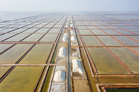 Salt fields in Shandong province. Saline groundwater provides the perfect place to produce raw salt which is harvested in many areas along the coast line of Bohai Bay. China, 2019