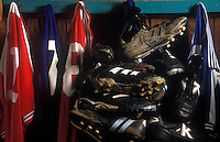 Soccer cleats and game jerseys.