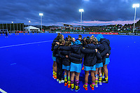 The Hockeyroos huddle before the Sentinel Homes Trans Tasman Series hockey match between the New Zealand Black Sticks Women and the Australian Hockeyroos at Massey University Hockey Turf in Palmerston North, New Zealand on Tuesday, 1 June 2021. Photo: Dave Lintott / lintottphoto.co.nz