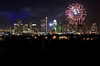 Fireworks firing over downtown Austin, Texas Skyline